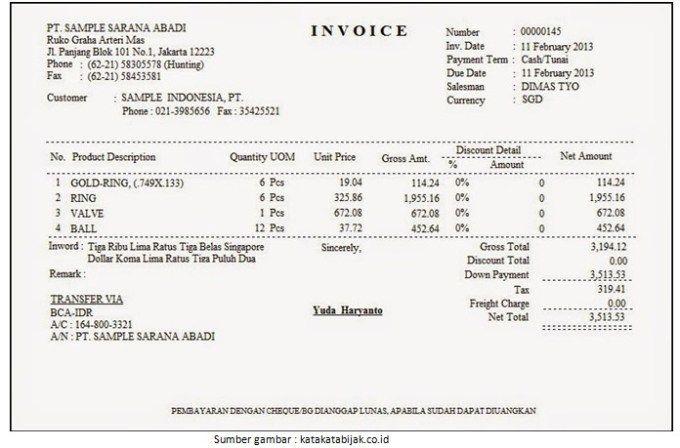 10 Contoh Invoice Tagihan Penjualan Jasa Dan Barang Yang Baik Dan Benar