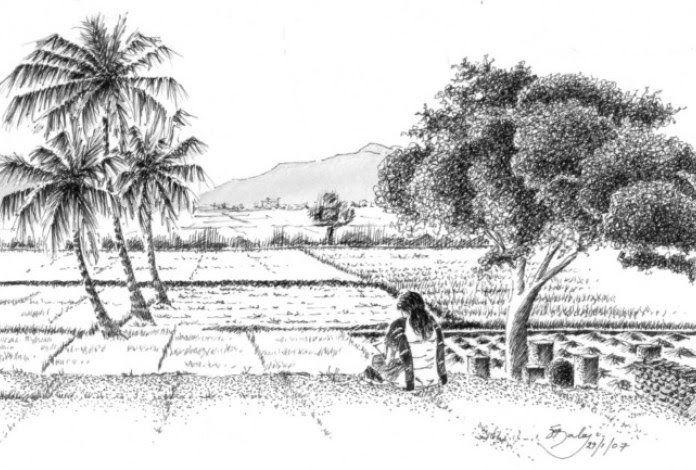 contoh gambar sketsa pemandangan alam