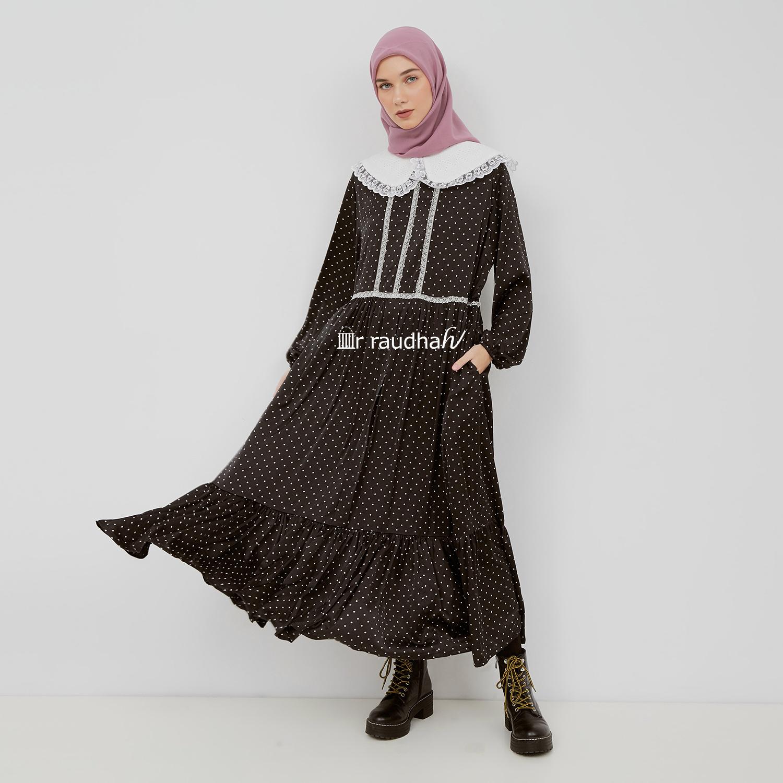 Busana Muslim Polkadot Hitam – 00013